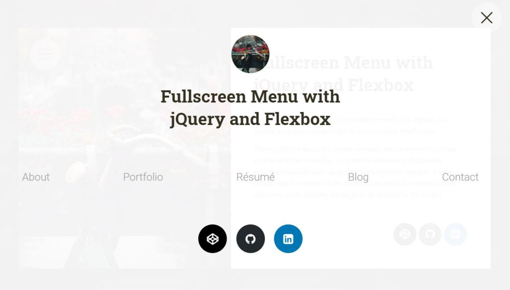 Fullscreen Menu with jQuery and Flexbox