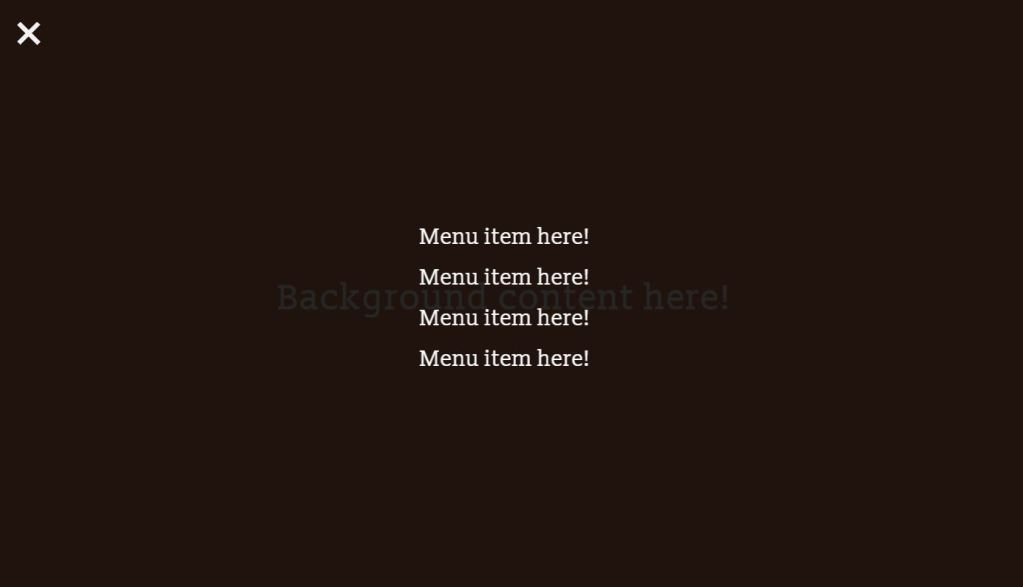 JavaScript Full Screen Menu toggle code examples