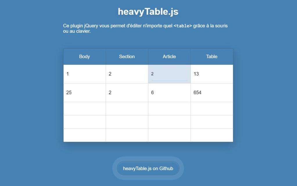 Create A Website Datatable Using HeavyTable.js