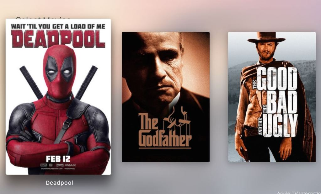 Apple TV Interaction Thumbnails Hover Effect