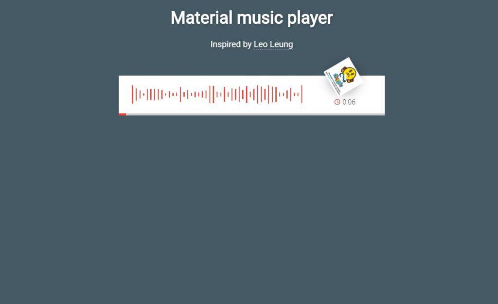Material design JavaScript JS music/audio play