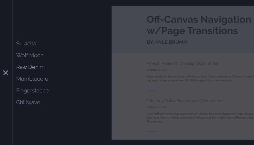 Off Canvas JavaScript menu example