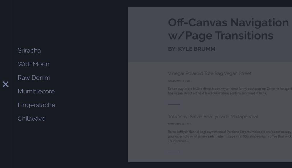 Off Canvas Navigation Menu Page Transitions