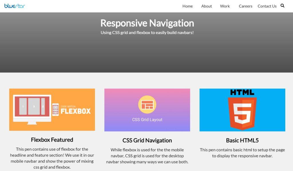 Pure CSS Grid/Flexbox Navigation bar