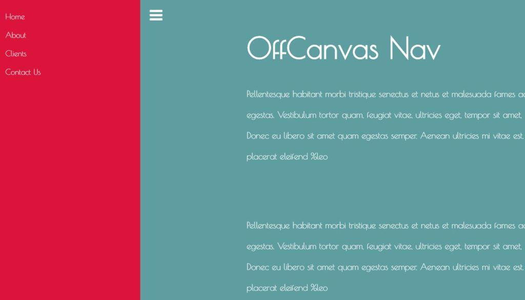 SASS OffCanvas Nav Design JavaScript Concept