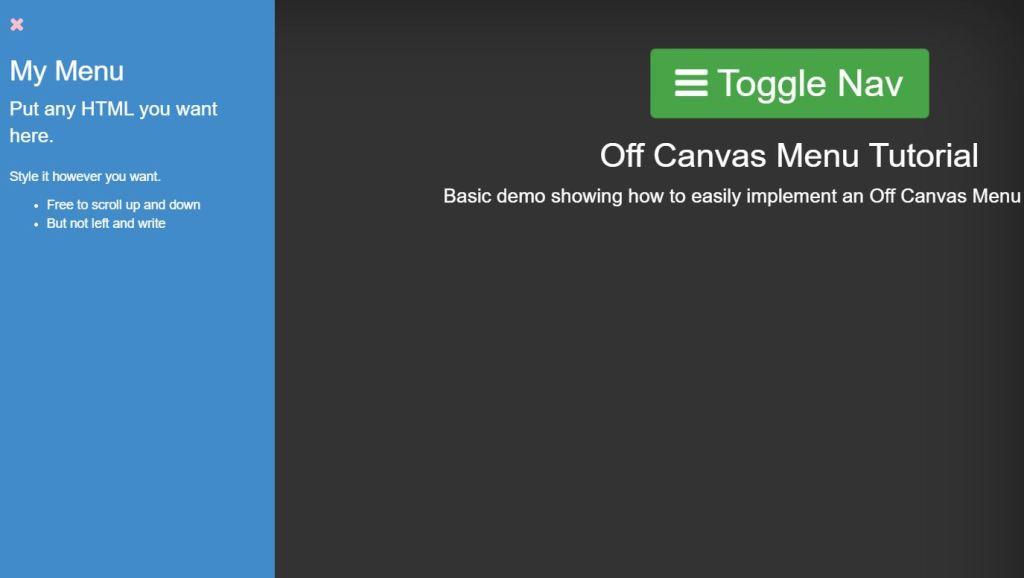 JavaScript JS and CSS3 Off Canvas Menu examples