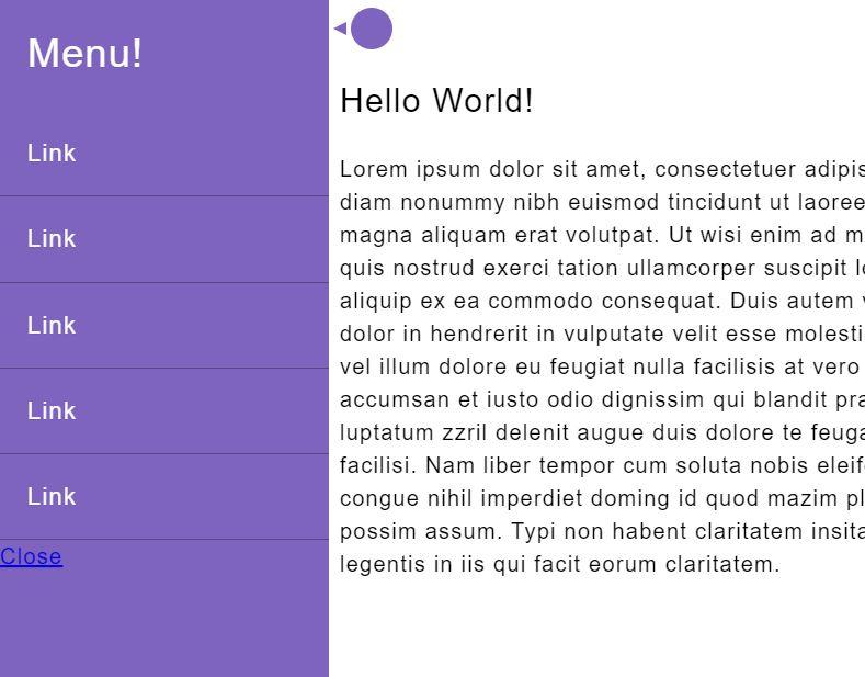 JavaScript/JS Slide Out Mobile Menu Experiment