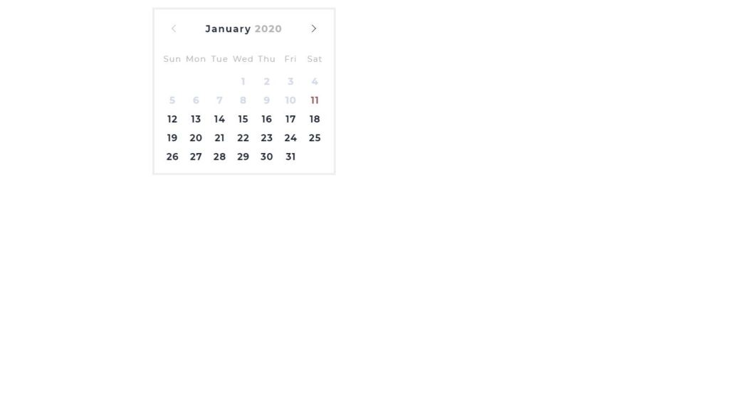 Vanilla JavaScript/JS date picker example