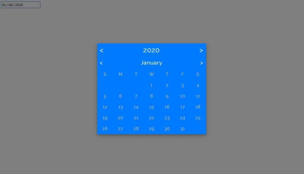 JavaScript/JS flat design date picker example