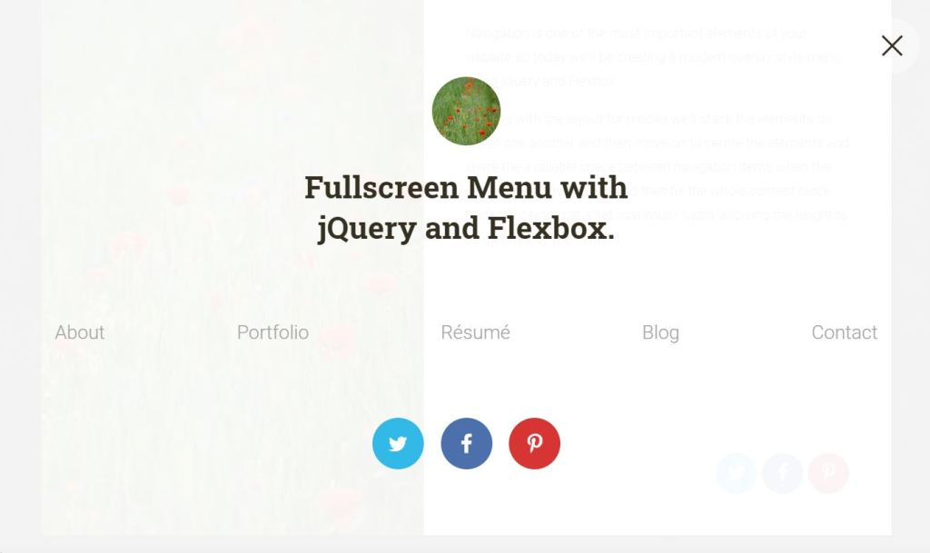 Fullscreen JavaScript menu example