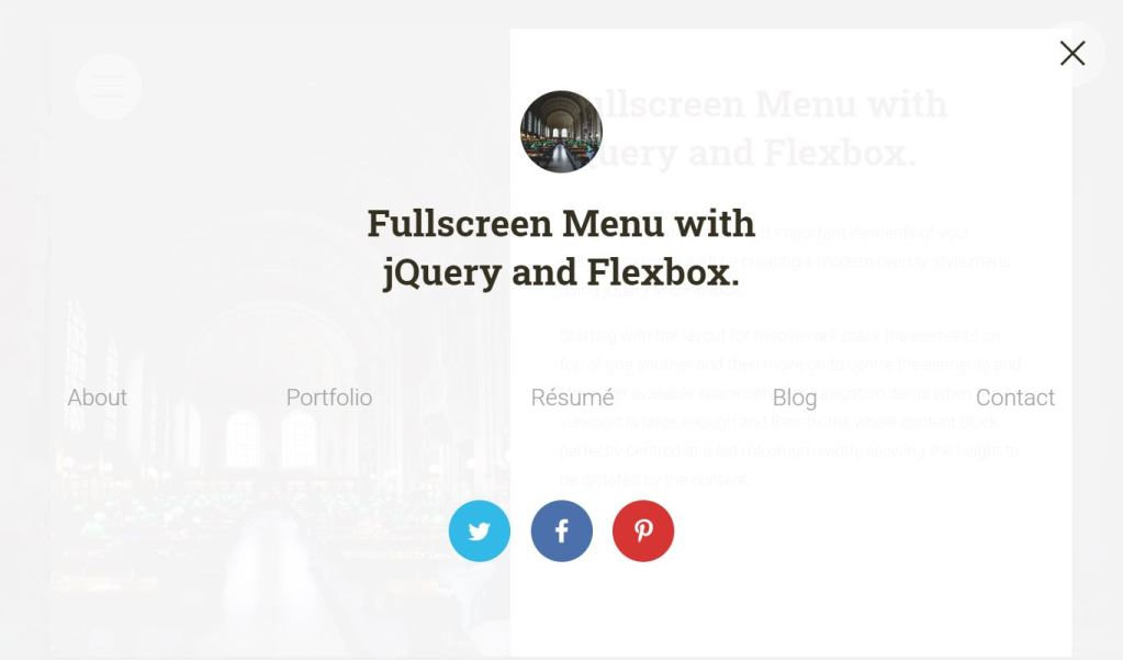 Fullscreen web menu with flexbox and jquery