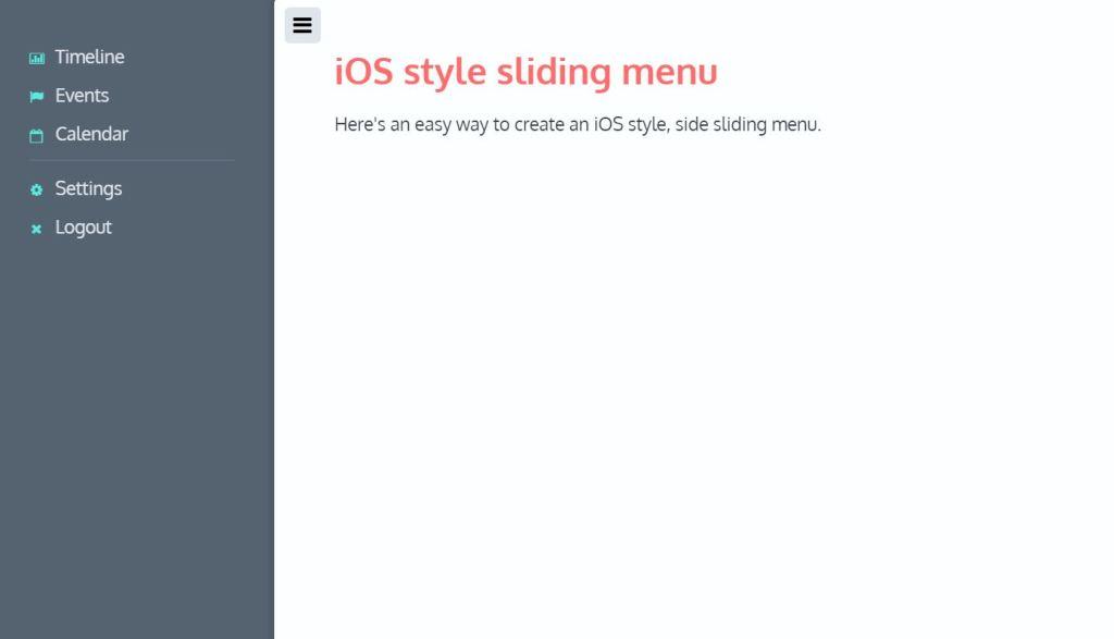 JavaScript JS Off Canvas Menu examples