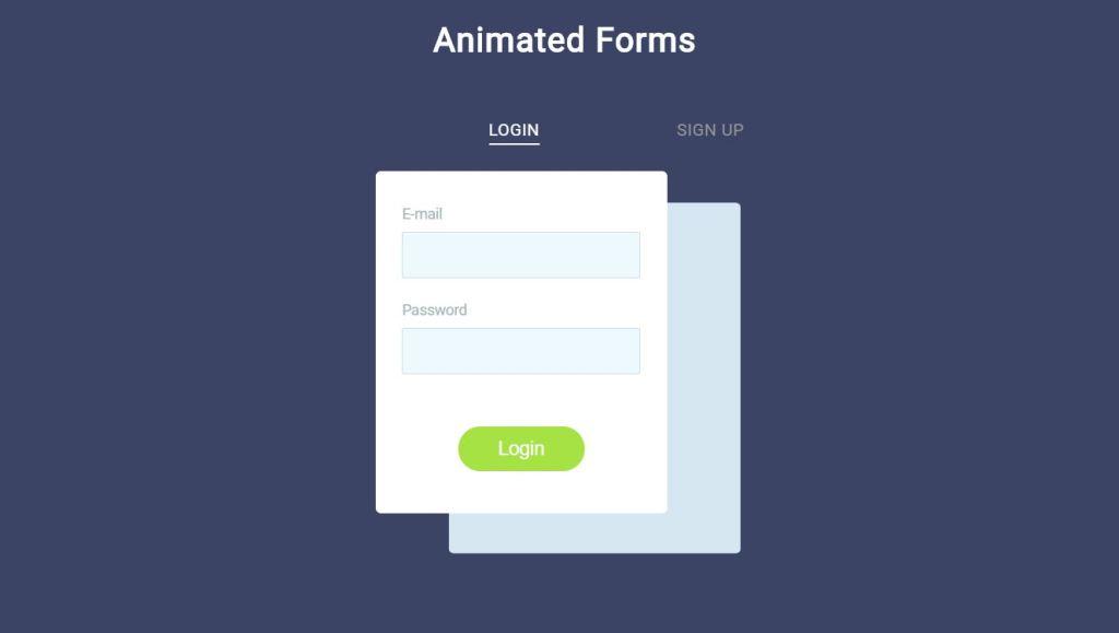 Animated JavaScript login form
