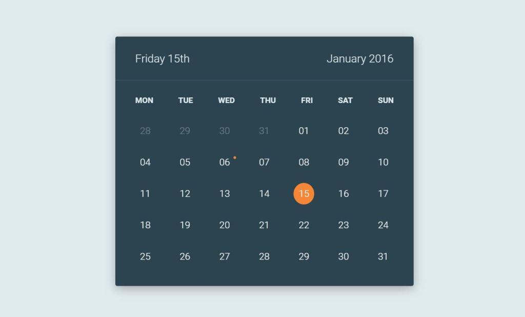 JavaScript/JS Calendar Flip