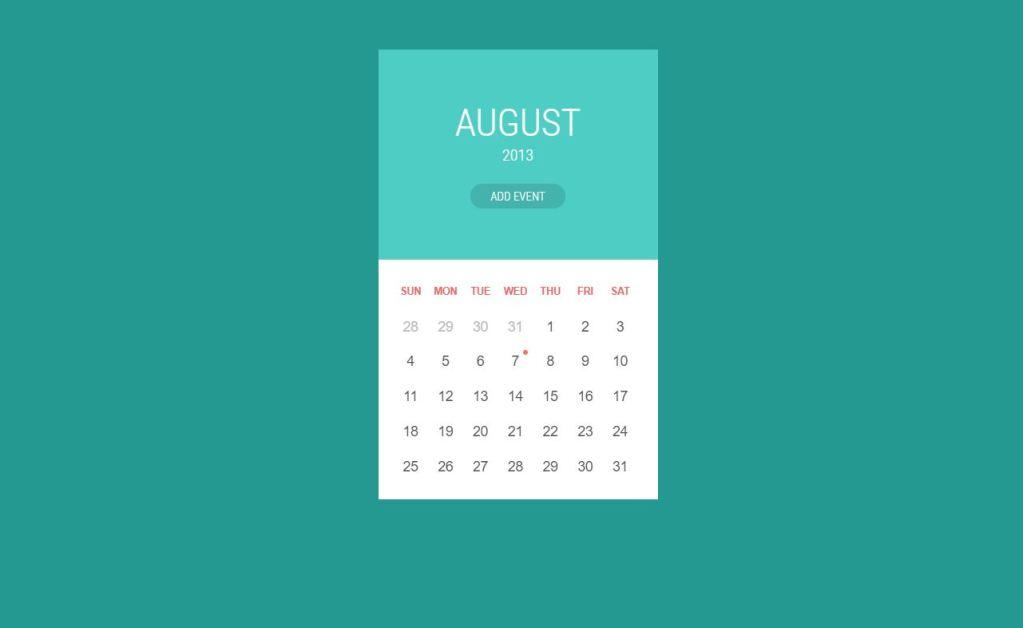 Material Design JavaScript/JS Calendar