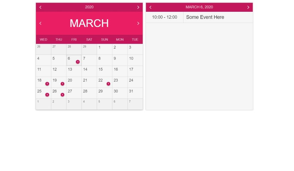 Calendars Javascript Library Snippet