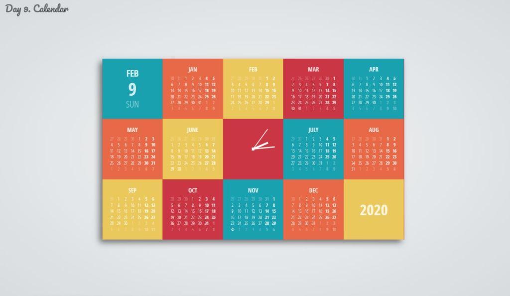12 Months JavaScript/JS Calendar