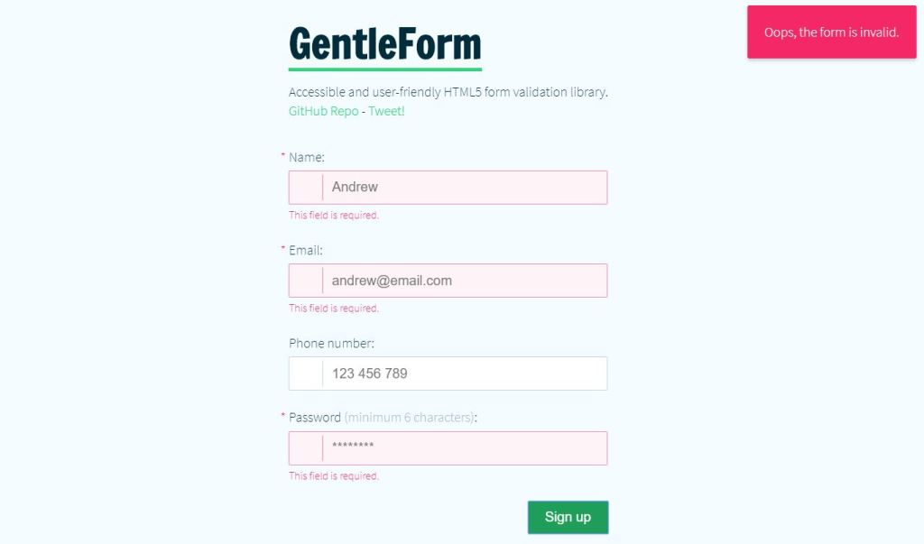 Accessible User-friendly HTML5 FormValidation Library