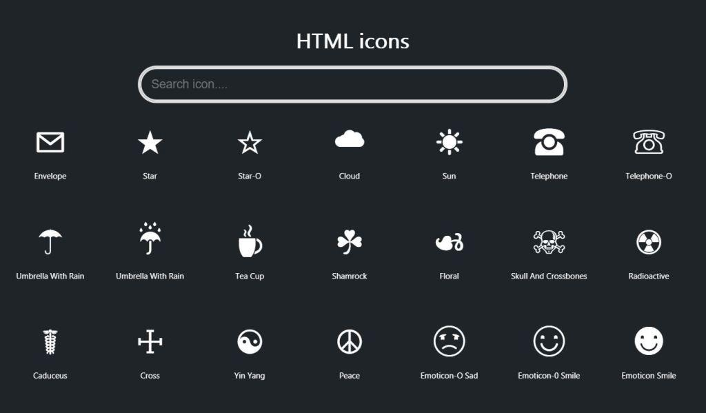 HTML Icons SearchBar