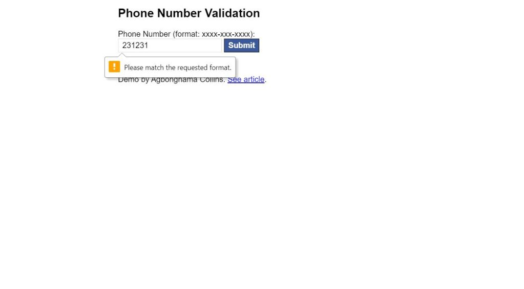 Phone Number Validation Design Example