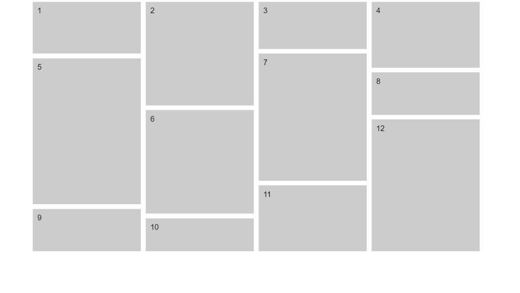Pure JavaScript/JS Masonry Example