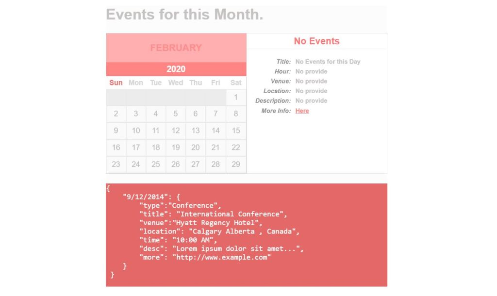 Simple JavaScript/JS Calendar with json events