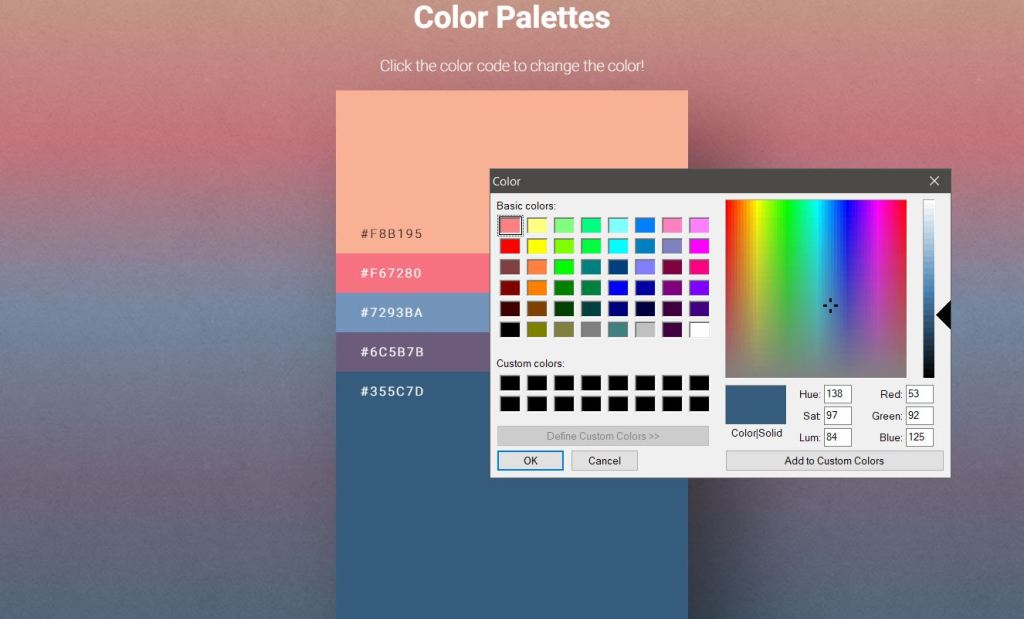 Simple ColorPalette Design Example