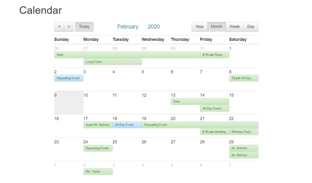 Bootstrap Compatable Calendars