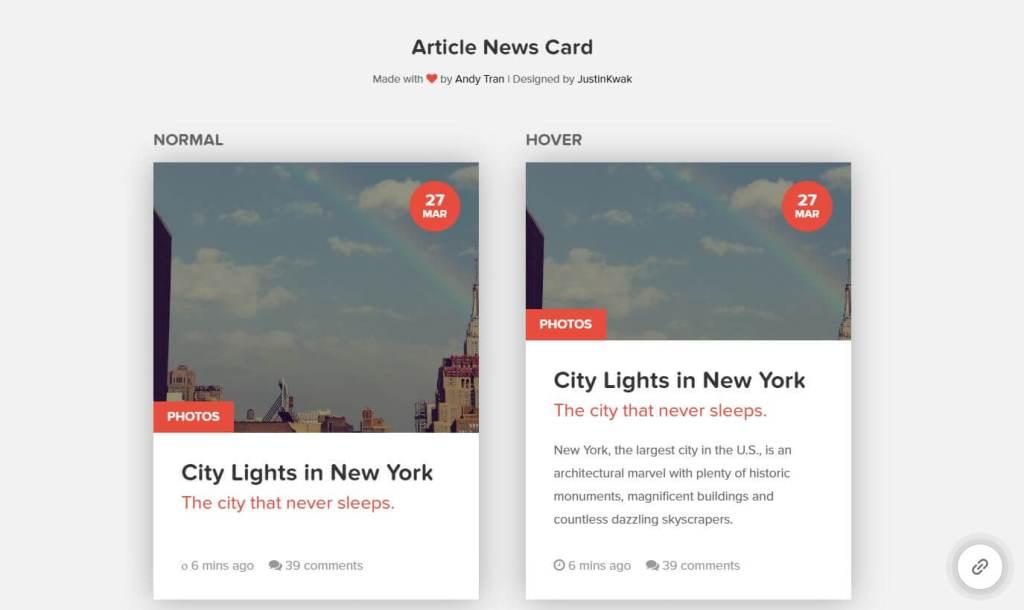 JavaScript Article News Card