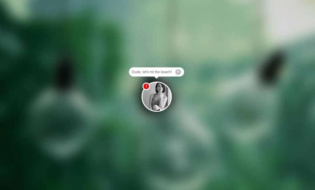 JS Chat bubble Alert example