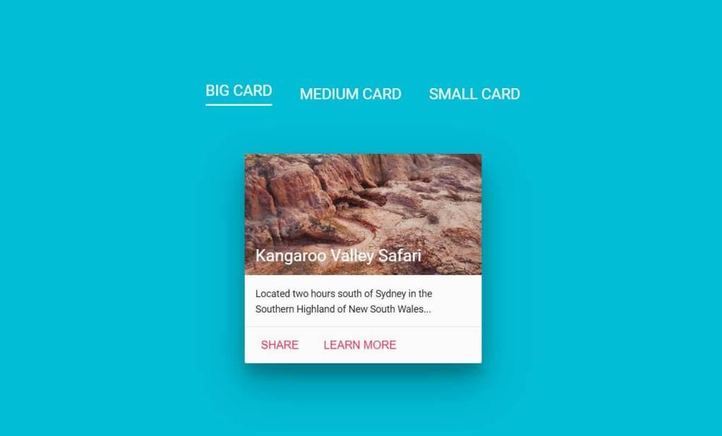 JavaScript Material Design Card