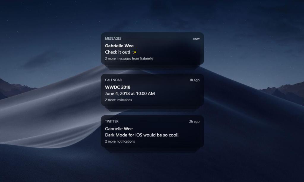 JS Dark Alert message example