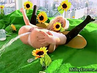 変態的なミルクエネマオナニーで快感を得る花の妖精
