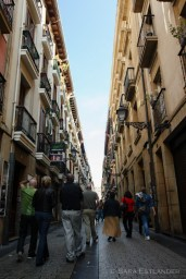 A street in the pedestrian part of downtown San Sebastian.
