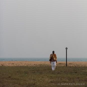 Gabin the artist, by the shore off Villa Karo.