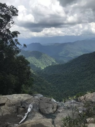 Looking over a waterfall in Bach Ma National Park