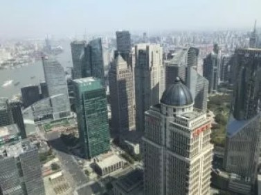 view of Pudong and Huangpu River from Oriental Pearl Tower