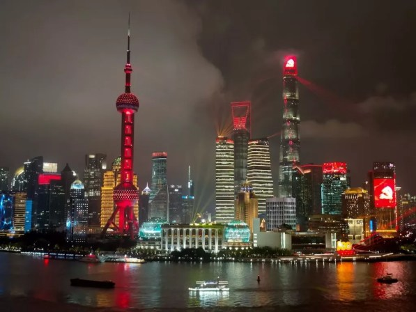 downtown Shanghai lit up for the 100 Year Anniversary of the Chinese Communist Party - onaroadtonowhere.com