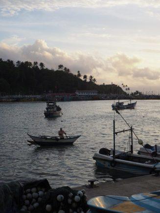 Un pécheur dans le port de Mirissa