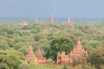 Vue sur les temples de Bagan, dispersés dans la plaine