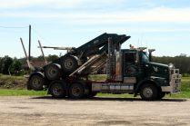 Un camion tranportant du bois (à vide)