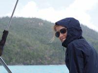 Elise à bord du voilier