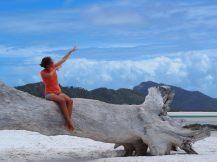 Elise sur la plage de Whitehaven