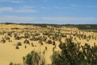 Vue d'ensemble sur les rochers du désert des pinnacles