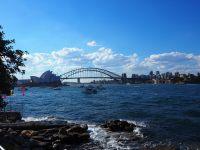 Vue sur le Sydney Harbour Bridge et l'opéra depuis les jardins botaniques