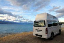 Notre bivouac pour le soir au bord du lac Pukaki