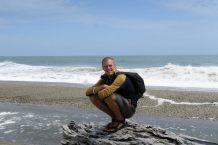 Julien sur une plage de la côte Ouest