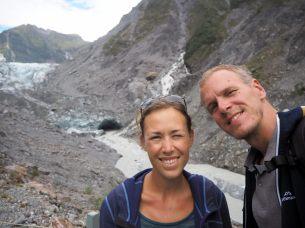 Selfie devant le glacier Fox