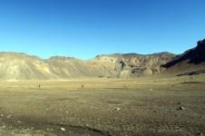 Une plaine un peu lunaire au pied du Mont Ngauruhoe