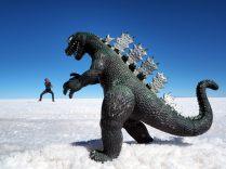 Julien en plein combat contre Godzilla !